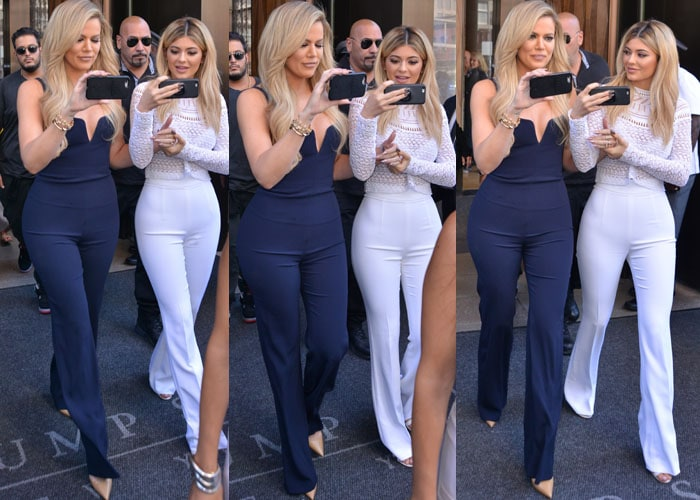 Khloé Kardashian and Kylie Jenner show off their legs in navy-and-white outfits as they leave Trump Hotel Soho