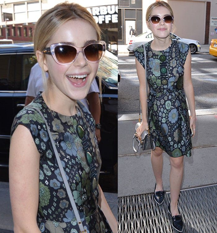 Kiernan Shipka smiles for the cameras while out in New York City