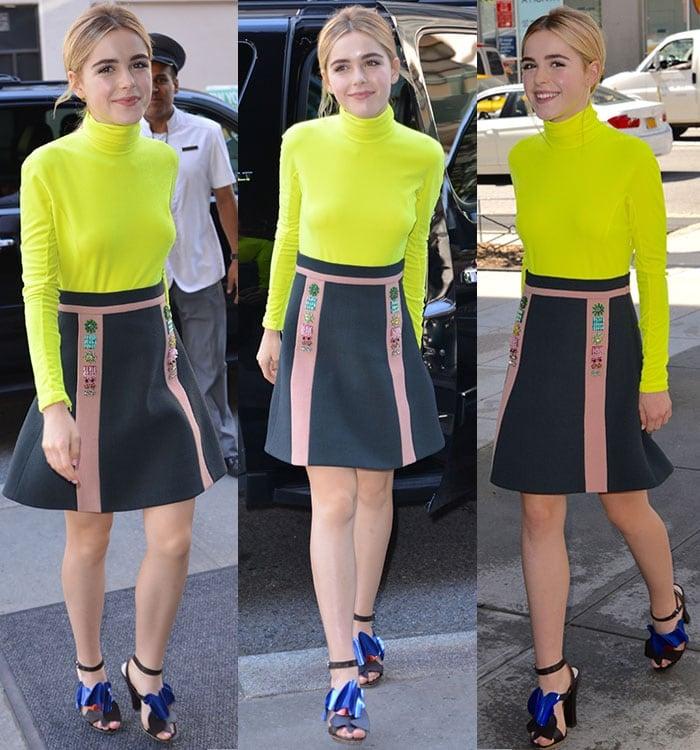 Kiernan Shipka wears a colorful Delpozo outfit during New York Fashion Week