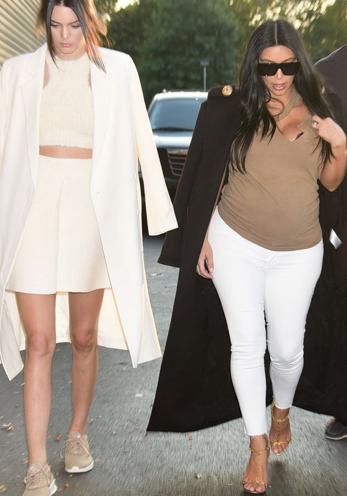 Kim Kardashian and Kendall Jenner don neutral outfits as they arrive at the Serena Williams vs. Venus Williams tennis match