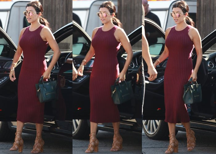 Kourtney Kardashian wearing a knitted dress from Ronny Kobo
