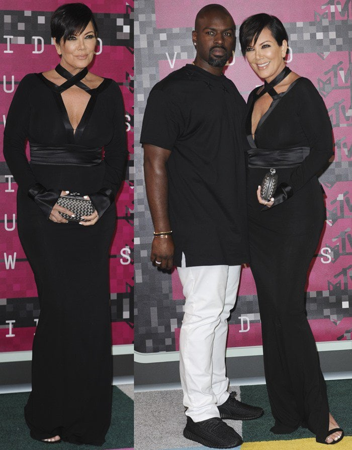 Kris Jenner finishes off her all-black outfit with a Bottega Veneta clutch