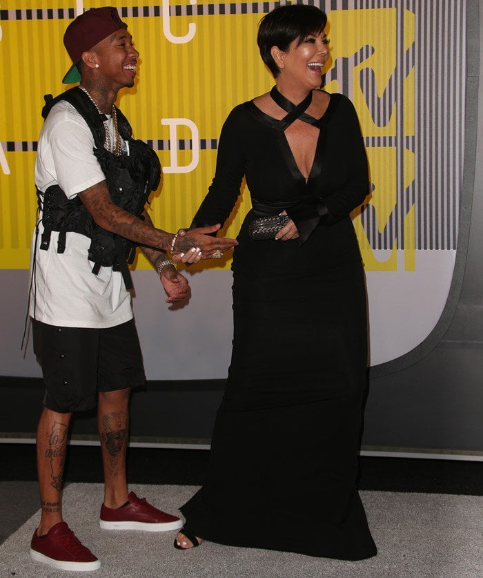 Kris Jenner and Tyga share a laugh on the carpet of the VMAs