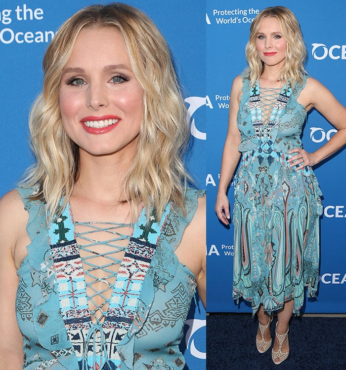 Kristen-Bell-Etro-lace-up-beaded-bodice-printed-dress