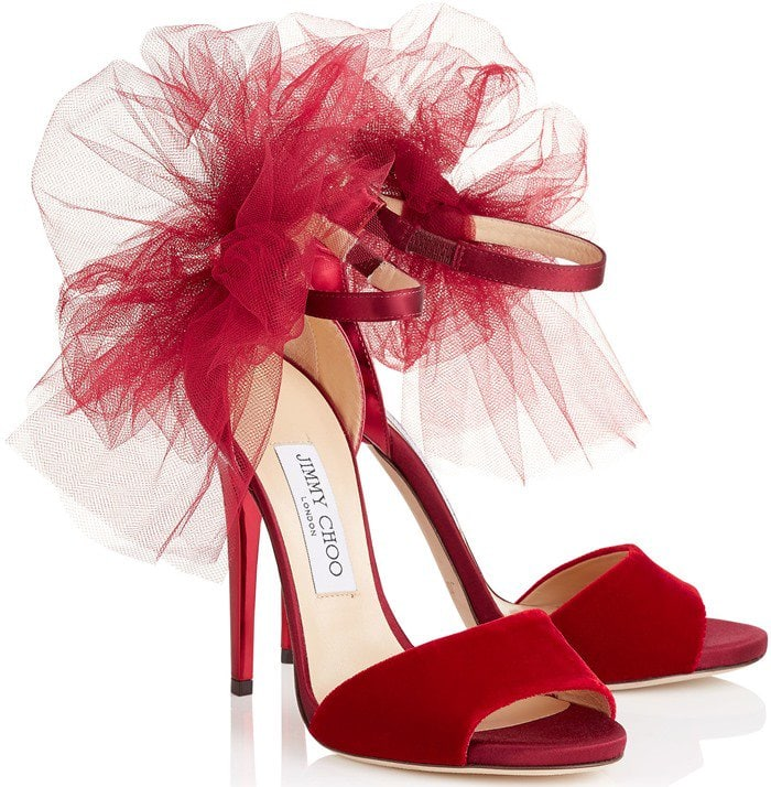 Jimmy Choo Lilyth Red Tulle Sandal