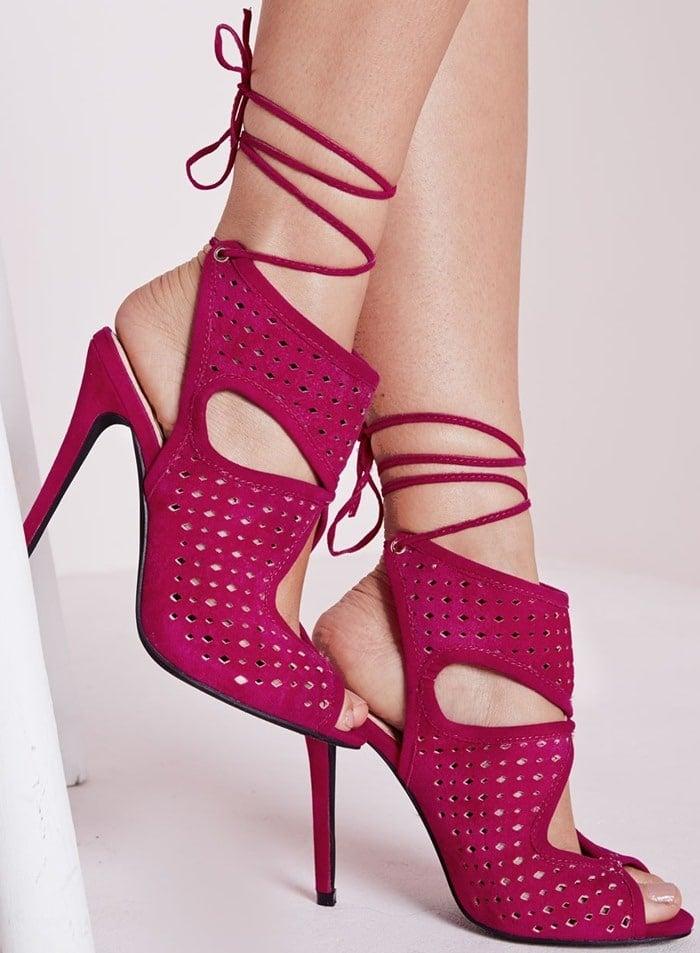 Laser Cut Heeled Sandals Fuchsia