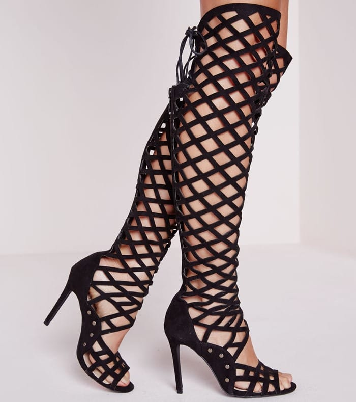 Laser Cut Over The Knee Peep Toe Heeled Sandals Black