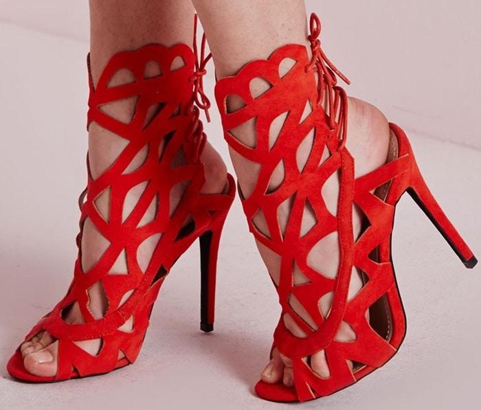 Laser Cut Tie Back Sandals Red