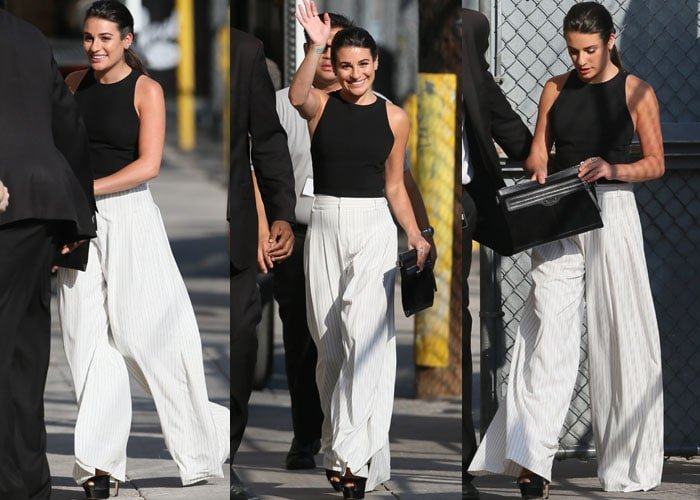 Lea Michele waves to fans and cameras as she arrives at ABC Studios in an Alice + Olivia outfit