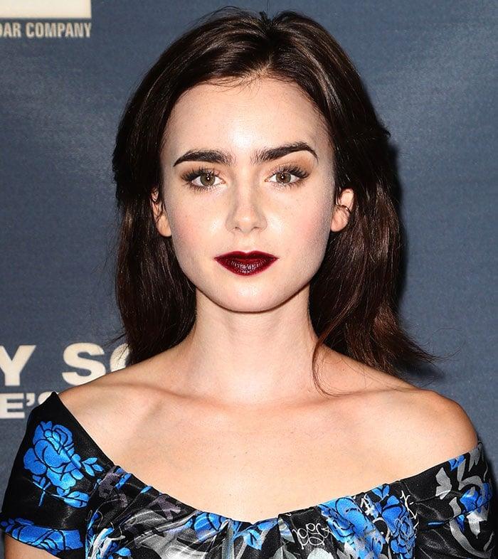 Lily-Collins-dark-berry-lips-Jeremy-Scott-People's-Designer