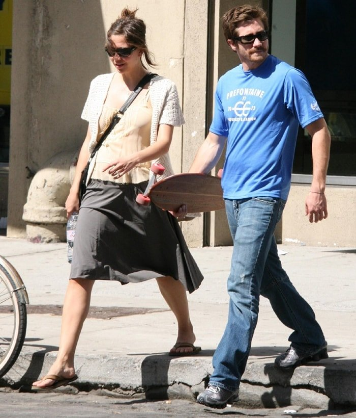 Maggie Gyllenhaal and her brother Jake Gyllenhaal shopping in the Meat Market district