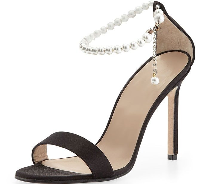 Manolo Blahnik Chaos Pearly Ankle-Wrap Sandals