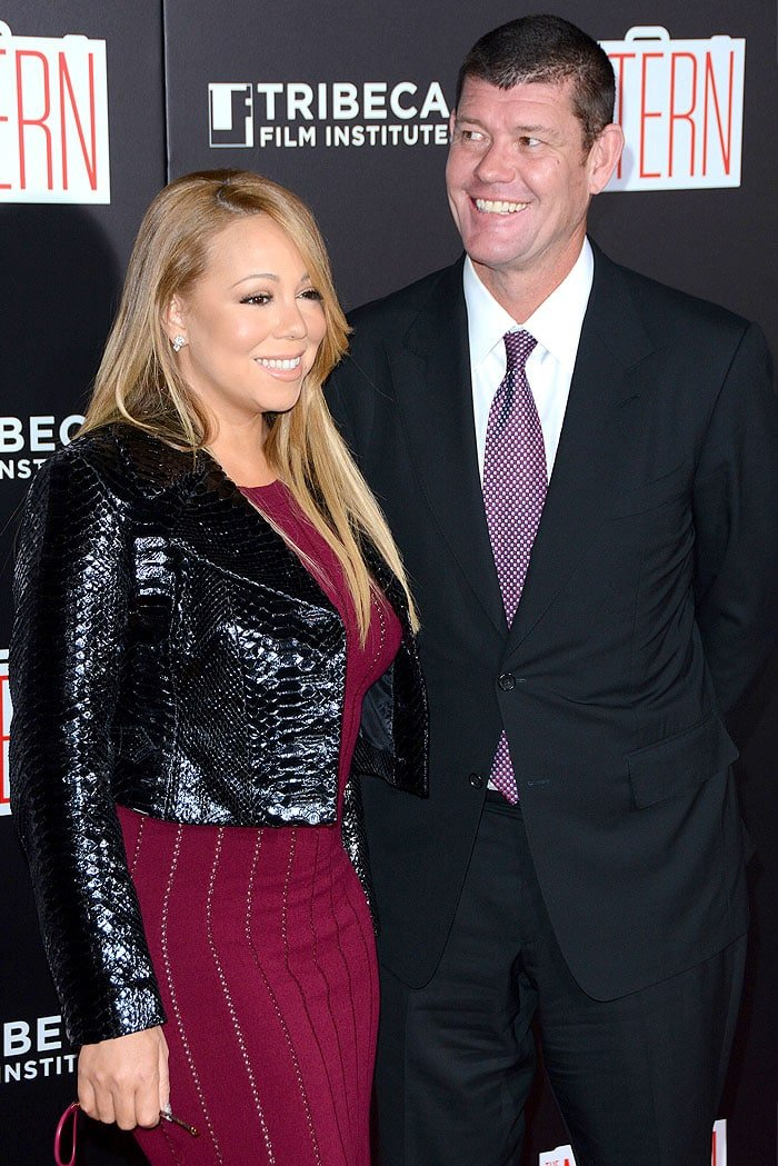 """Mariah Carey and James Packer make their first red carpet debut as a couple at """"The Intern"""" premiere held at the Ziegfeld Theater"""