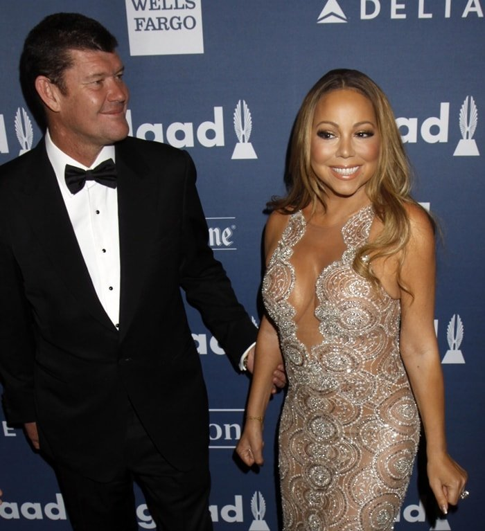 Singer Mariah Carey and James Packer attend the 27th Annual GLAAD Media Awards