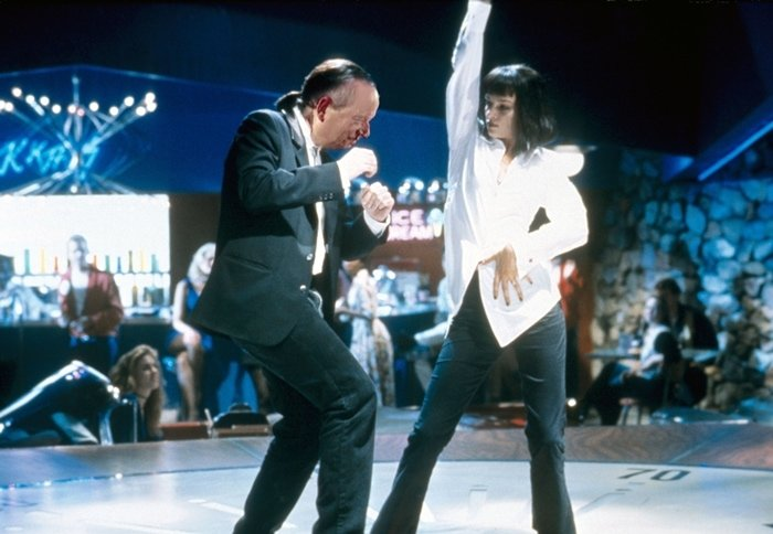 Mia Wallace dancing with Vince at the Jack Rabbit Slims restaurant