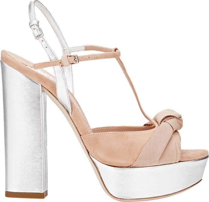 Miu Miu Knotted Grosgrain Bow and Suede T-Strap Platform Sandals