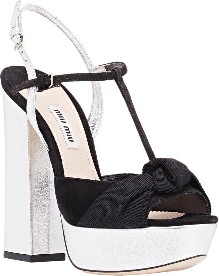Miu Miu Knotted Bow T-Strap Platform Sandals