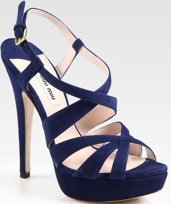 Miu Miu Suede Criss Cross Platform Sandals