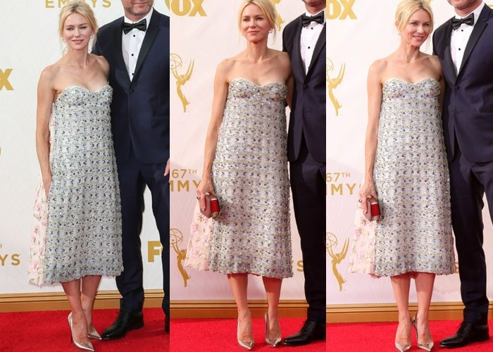 Naomi Watts wears a gorgeous jewel-embellished dress from Christian Dior on the red carpet