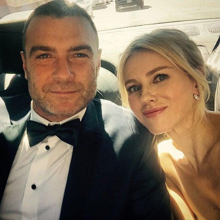 "Via Naomi Watt on Instagram: ""About to hit the #Emmys2015 red carpet on the arm of @RayDonovan himself! #talentcrush #mybabydaddy"""