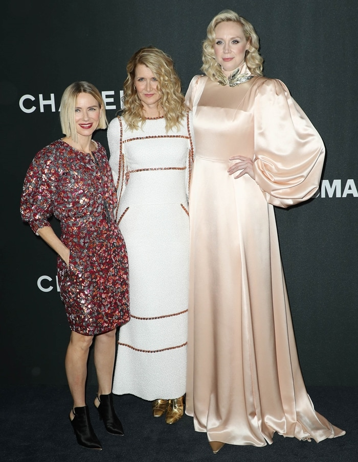 Naomi Watts, pictured with Laura Dern and Gwendoline Christie, has a net worth of $30 million