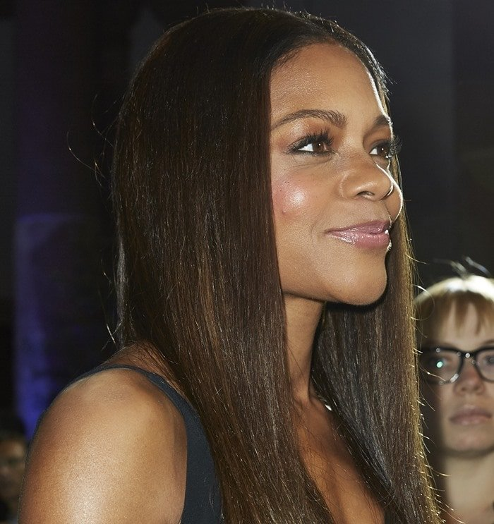 Naomie Harris stole the limelight in a black lace-up gown