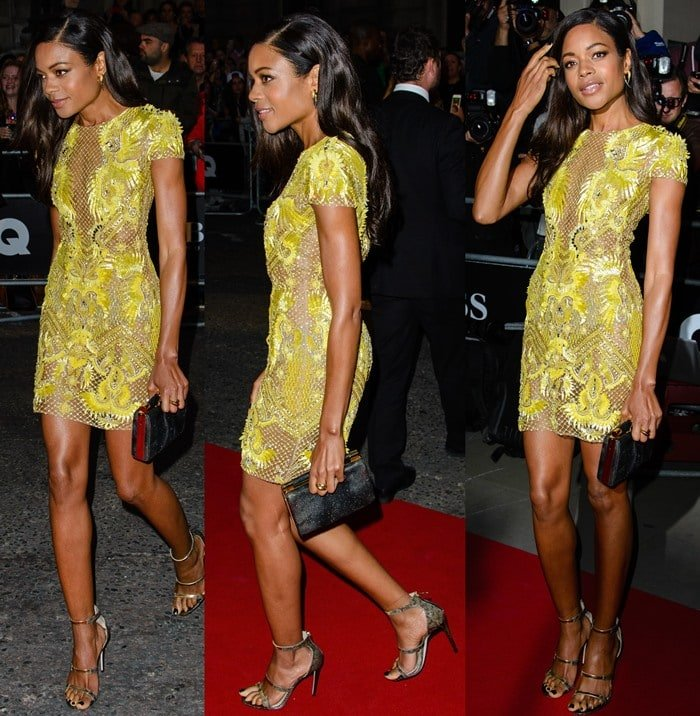 Naomie Harris steps out onto the red carpet in a bright yellow dress from Julien Macdonald