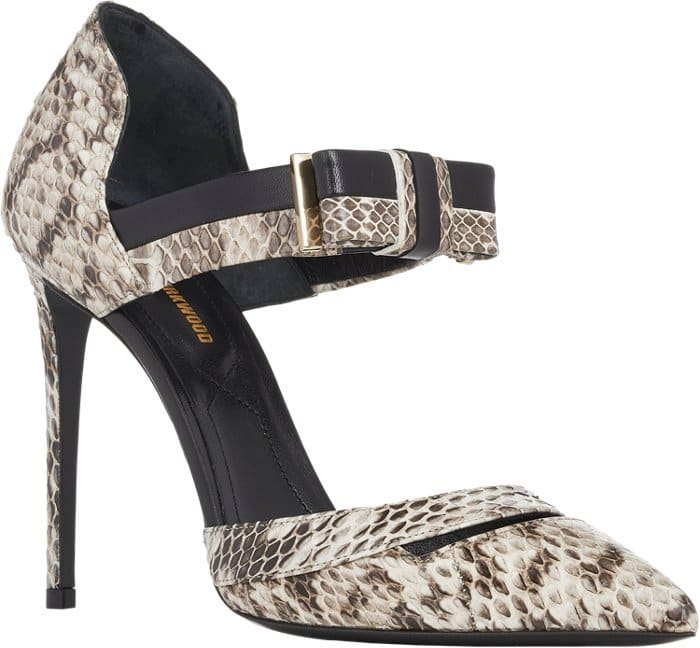 Nicholas Kirkwood Snakeskin & Leather Ankle-Strap Pumps