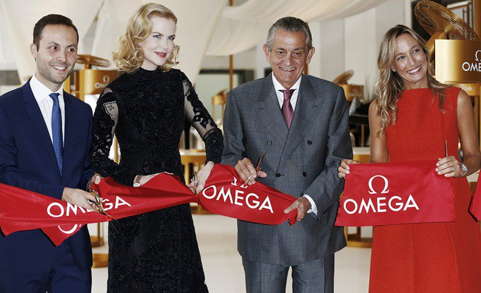 Omega's brand manager Malik Bey, actress Nicole Kidman, Omega President Stephen Urquhart, and country manager for Swatch Group Italia Burdese Laura attend OMEGA 'Her Time' Exhibition Opening