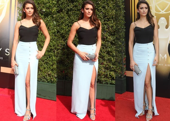 Nina Dobrev wears a pale-blue-and-black Mugler dress on the red carpet of the Creative Arts Emmy Awards