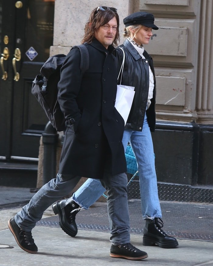 Norman Reedus and his girlfriend Diane Kruger shopping in Soho the day after Christmas