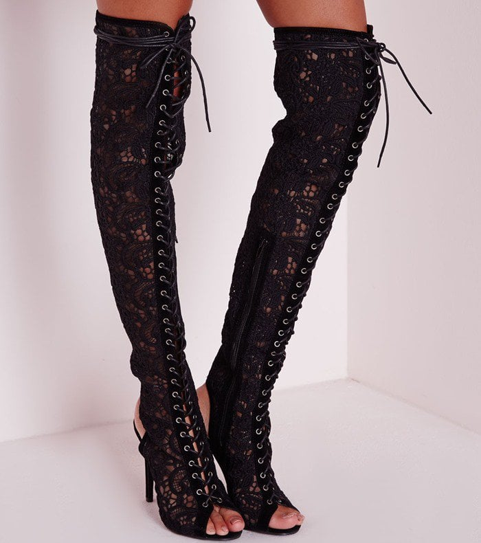 Over The Knee Floral Lace Up Boots Black