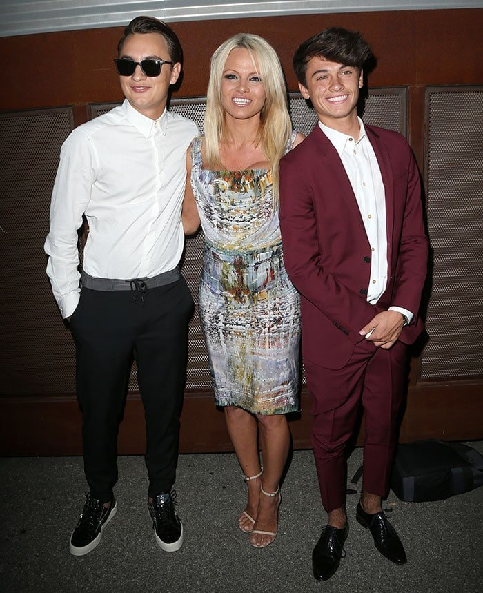 Pamela Anderson and her sons, Brandon Thomas Lee and Dylan Jagger Lee, at the Mercy for Animals Hidden Heroes Gala at Unici Casa in Culver City, California, on August 29, 2015