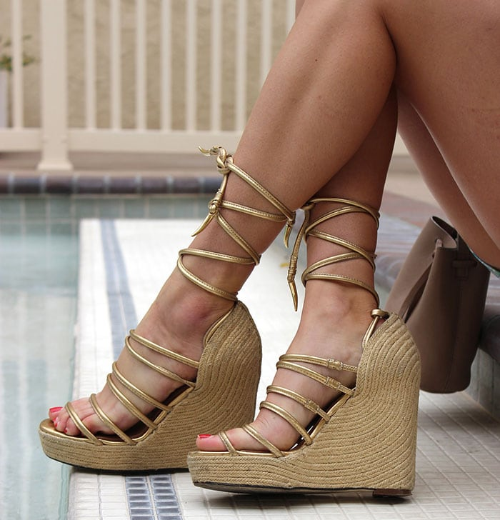 Payton's pretty feet in lace-up ankle wrap straps