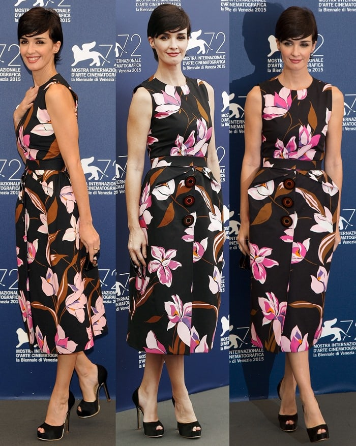 Paz Vega looked gorgeous in a graphic lily print number from the Salvatore Ferragamo Resort 2016 collection