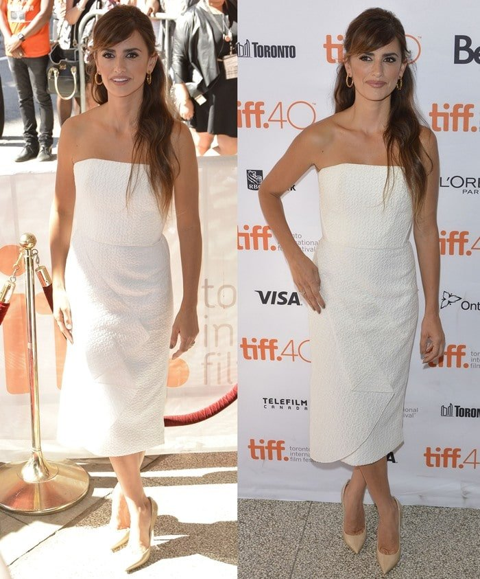 Penelope Cruz in a white strapless drape front dress from the Roland Mouret Resort 2016 collection