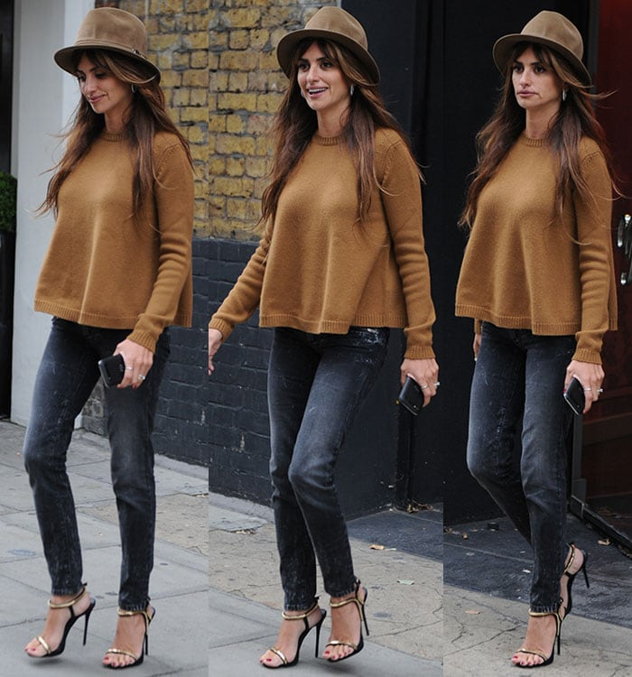 Penelope Cruz leaving Agent Provocateur head offices in London on September 4, 2015