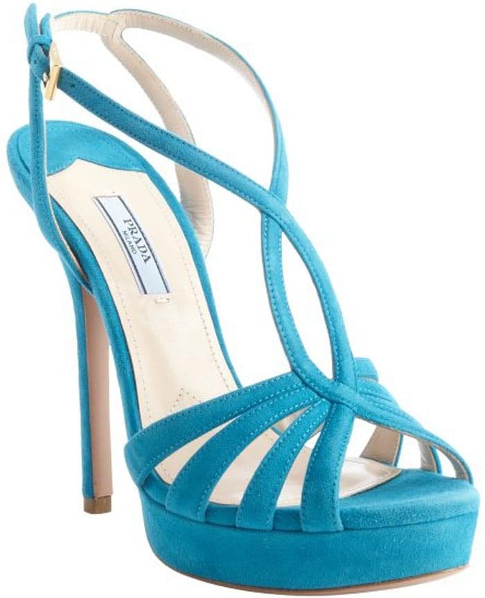Prada Blue Suede Strappy Heel Platform Sandals