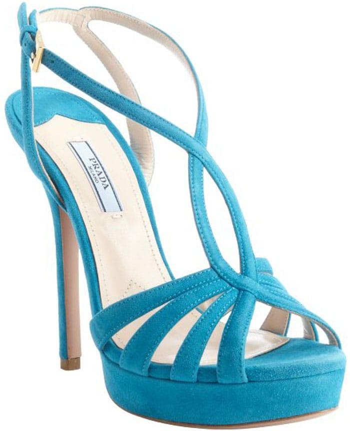 Prada Blue Strappy Sandals