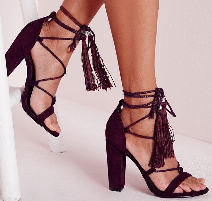 Purple Lace Up Tassel Block Heeled Sandals Berry
