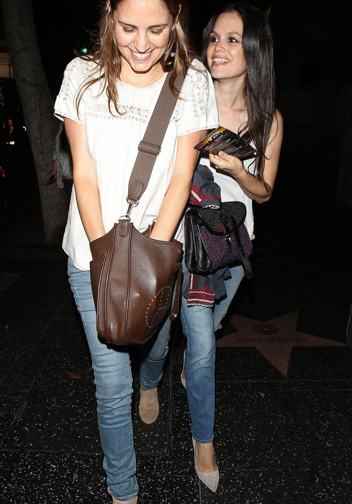 Rachel Bilson with a friend after attending the Unauthorized O.C. Musical One Night Only Event presented by Original Penguin at The Montalban