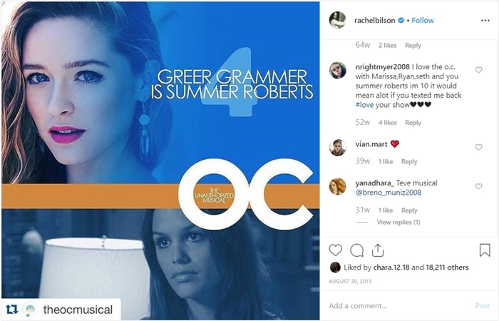Rachel Bilson promoting the one-night-only The Unauthorized O.C. Musical