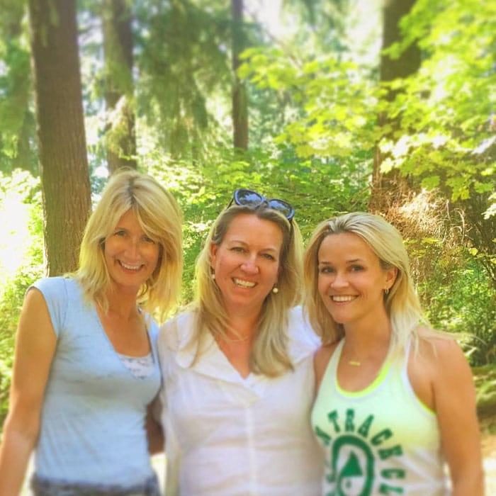 Reese Witherspoon poses with Wild co-star Laura Dern and author Cheryl Strayed
