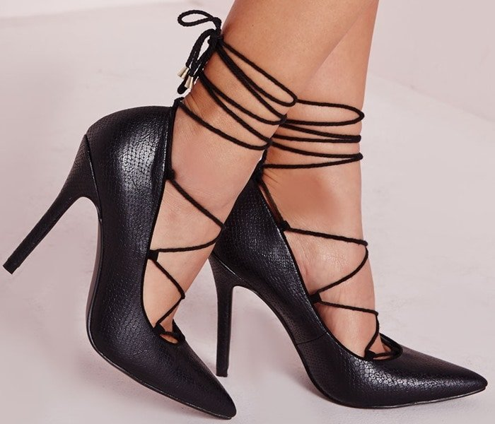 Reptile Point Lace Up Court Shoes Black