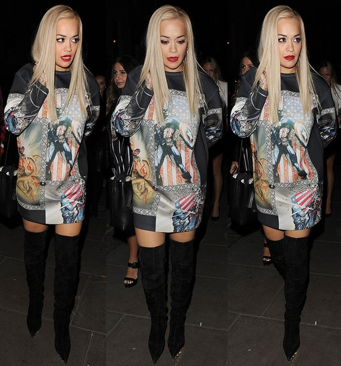Rita Ora's straightened blonde locks framed her gorgeously made-up face