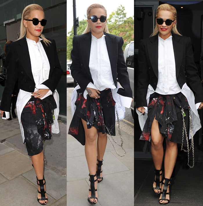 Androgynous Rita Ora wears a double-breasted tuxedo jacket