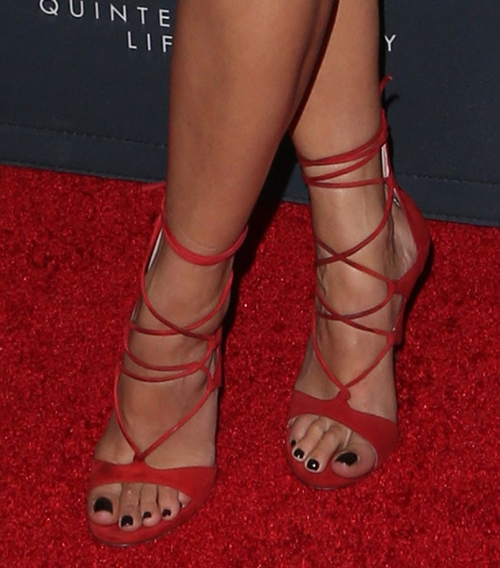 Rita Ora's sexy feet in red suede shoes