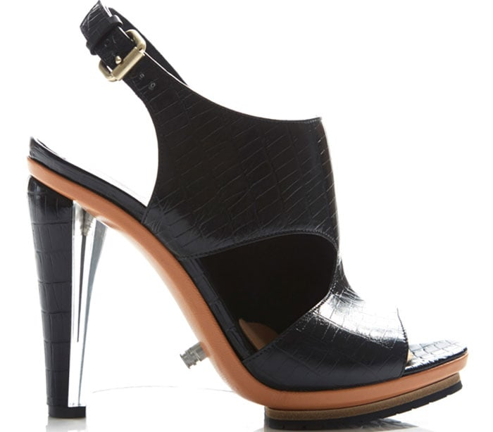 Rodarte Embossed Black Crocodile Leather Sandals with Clear Lucite Wedge Heels