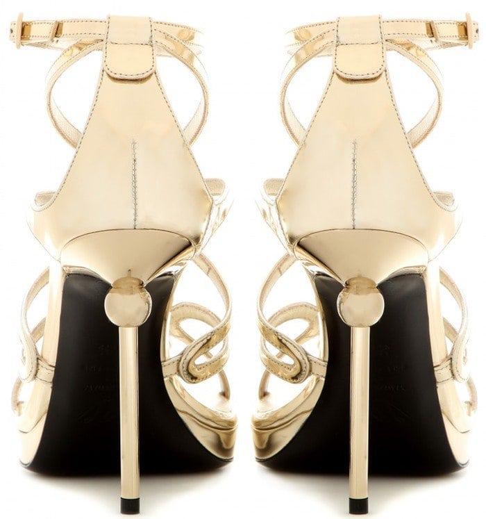 Roger Vivier Ondulation metallic leather sandals heel