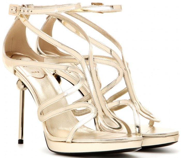 Roger Vivier Ondulation metallic leather sandals